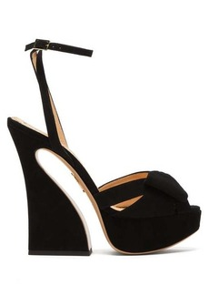 Charlotte Olympia Curved heel suede platform sandals