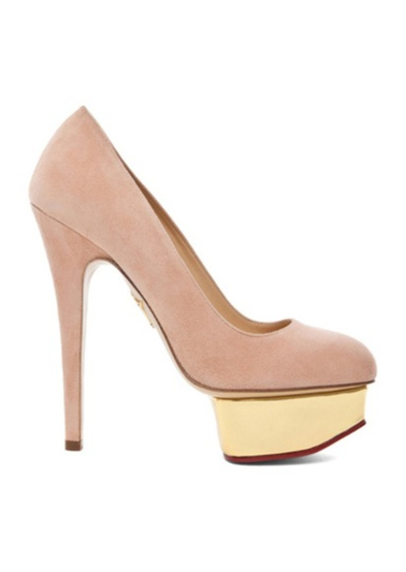 Charlotte Olympia Dolly Signature Court Island Suede Pumps