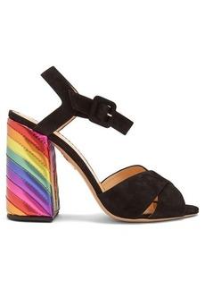 Charlotte Olympia Emma rainbow suede sandals
