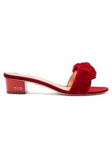 Charlotte Olympia Etta rose appliqué velvet sandals