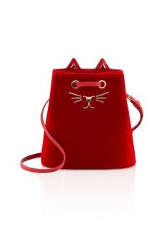 Charlotte Olympia Feline Velvet Bucket Bag