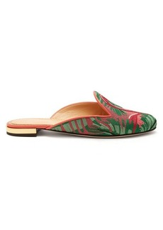 Charlotte Olympia Flamingo embroidered slipper shoes