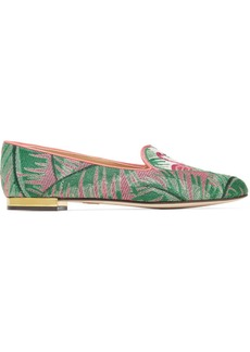 Charlotte Olympia Flamingo leather-trimmed embroidered canvas slippers