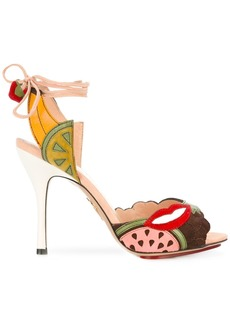 Charlotte Olympia fruit patch heeled sandals - Multicolour
