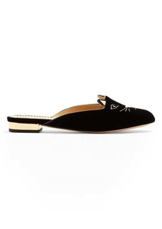 Charlotte Olympia Kitty cat face-embroidered velvet backless loafers