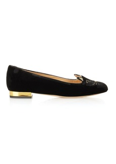 Charlotte Olympia Kitty cat face-embroidered velvet flats