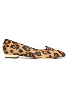 Charlotte Olympia Kitty d'Orsay leopard-print calf-hair flats
