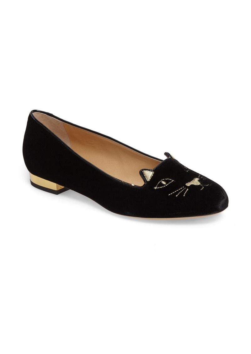 charlotte olympia charlotte olympia 39 kitty 39 flat women shoes shop it to me. Black Bedroom Furniture Sets. Home Design Ideas