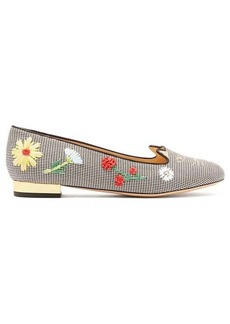 Charlotte Olympia Kitty floral-embroidered gingham flats