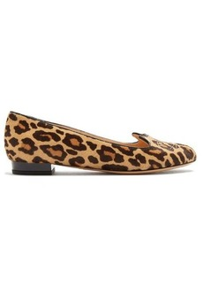 Charlotte Olympia Kitty leopard-print calf-hair flats