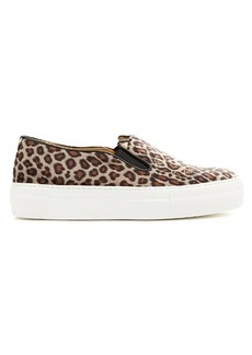 Charlotte Olympia Kitty leopard-print velvet trainers