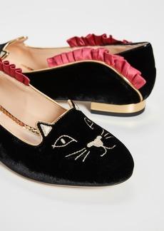 Charlotte Olympia Kitty Ruffled Ballet Flats