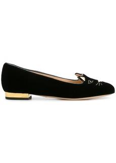 Charlotte Olympia Kitty slippers - Black
