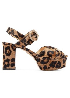 Charlotte Olympia Leopard-print calf-hair platform sandals