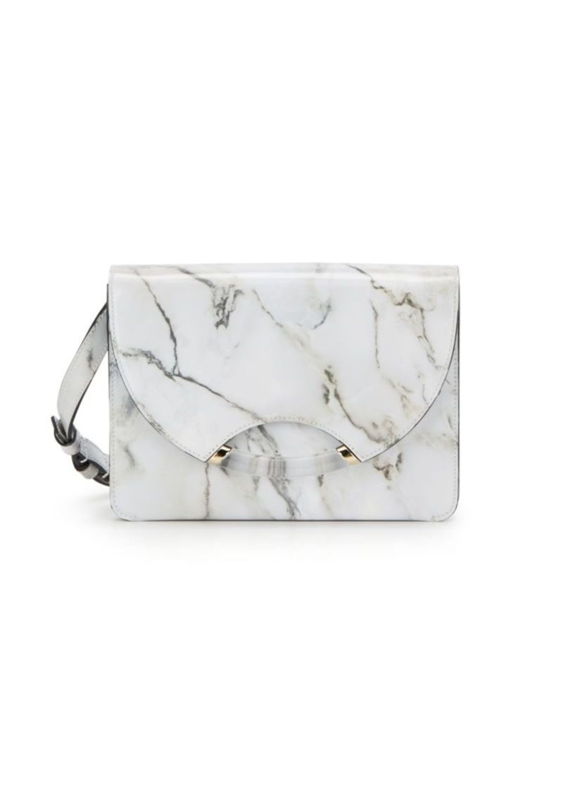 Charlotte Olympia Marble-Print Leather Shoulder Bag