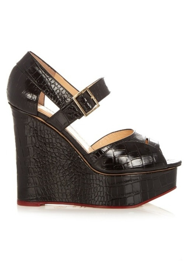 Charlotte Olympia Marcella crocodile-effect leather wedges