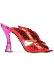 Charlotte Olympia metallic flame mules - Red
