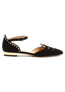 Charlotte Olympia Mid-Century Kitty D'Orsay suede flats