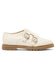 Charlotte Olympia Ostrich-effect leather double monk-strap loafers