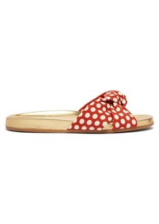 Charlotte Olympia Polka dot-print knotted canvas slides