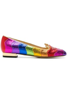 Charlotte Olympia Rainbow Kitty ballerina shoes - Multicolour