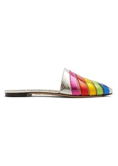 Charlotte Olympia Rainbow snakeskin-effect leather backless loafers