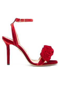 Charlotte Olympia Rose appliquéd velvet sandals