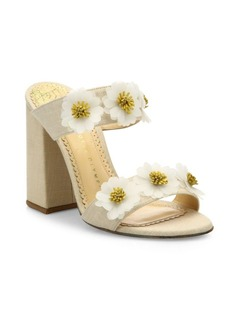 Charlotte Olympia Rosette Floral-Embroidered Linen Block Heel Mules