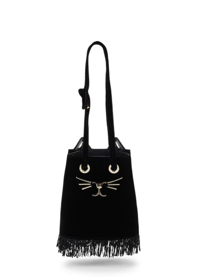 Charlotte Olympia Feline Petite Velvet Bucket Bag