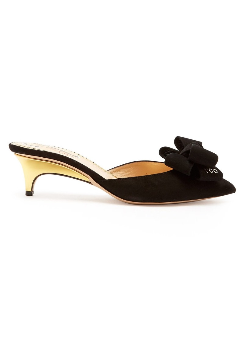 Charlotte Olympia Suede bow kitten-heel mules