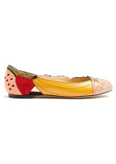 Charlotte Olympia Tutti Frutti suede and leather flats