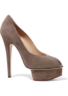 Charlotte Olympia Woman Daphne Suede Pumps Gray