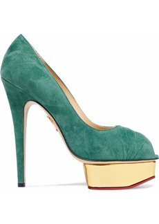 Charlotte Olympia Woman Daryl Suede Platform Pumps Teal