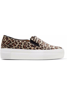 Charlotte Olympia Woman Embroidered Leopard-print Velvet Platform Slip-on Sneakers Animal Print