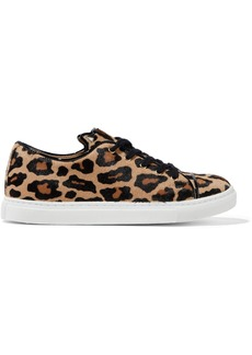 Charlotte Olympia Woman Leather-trimmed Leopard-print Calf Hair Sneakers Animal Print
