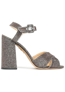 Charlotte Olympia Woman Leather-trimmed Lurex Sandals Silver