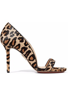 Charlotte Olympia Woman Christine Leopard-print Calf Hair Sandals Sand