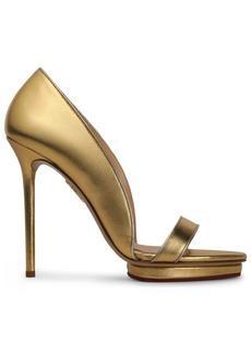 Charlotte Olympia Woman Christine Metallic Leather Platform Sandals Gold