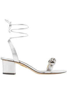 Charlotte Olympia Woman Tara Embellished Metallic Leather Sandals Silver