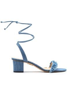 Charlotte Olympia Woman Tara Frayed Denim Sandals Light Denim