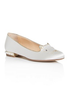 Charlotte Olympia Women's Bejewelled Kitty Flats & Something Blue Stockings Set