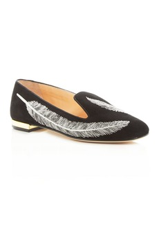Charlotte Olympia Women's Darcy Embroidered Slip-On Flats