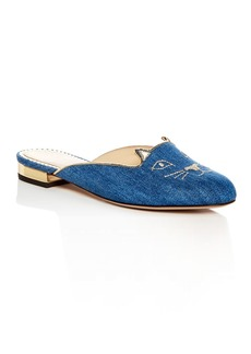 Charlotte Olympia Women's Kitty Embroidered Denim Mules