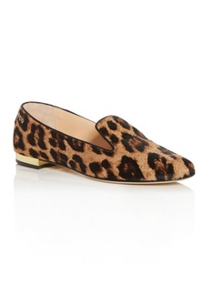 Charlotte Olympia Women's Leopard-Print Fur Smoking Slippers
