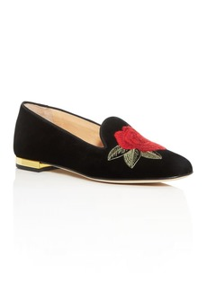 Charlotte Olympia Women's Rose Embroidered Flats
