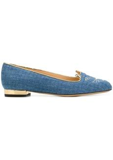 Charlotte Olympia light denim Kitty slippers