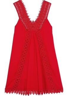 Charo Ruiz Ibiza Woman Crocheted Lace-paneled Cotton-blend Voile Mini Dress Red