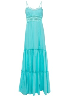 Charo Ruiz Ibiza Woman Crocheted Lace-trimmed Cotton-blend Voile Maxi Dress Turquoise
