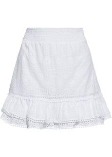 Charo Ruiz Ibiza Woman Humy Tiered Broderie Anglaise Cotton-blend Mini Skirt White