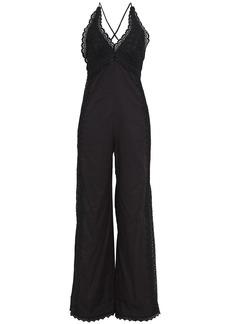 Charo Ruiz Ibiza Woman Isa Open-back Crocheted Lace-paneled Cotton-blend Voile Jumpsuit Black